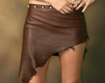 Crimson Imp - Deer Skin Burgundy Leather Skirt - Deerskin Elven Elf Garment