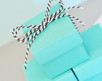 Blue Favor Box - Aqua Blue Box - Party Favor Boxes Wedding Favor Boxes Candy Favor Boxes Candy Buffet Favor Bags Boxes 2| (EB1025) set of 24
