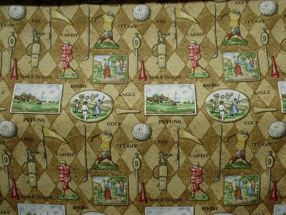 Items Similar To Sale 54 Home Decor Fabric Golf Golds Greens Wine White On Etsy