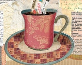 Red Coffee Cup Art by Lori Siebert, Collage, Mixed Media, Word Art, Whimsical, Colorful, Lori Seibert