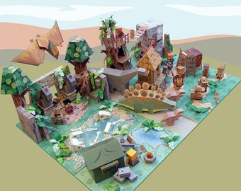 SPECIAL OFFER 20 % Discount - Dino MiniWorld paper toys - The Complete Play Set - 7 sets. Instant download.