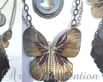 Butterfly cameo vintage style layered necklace