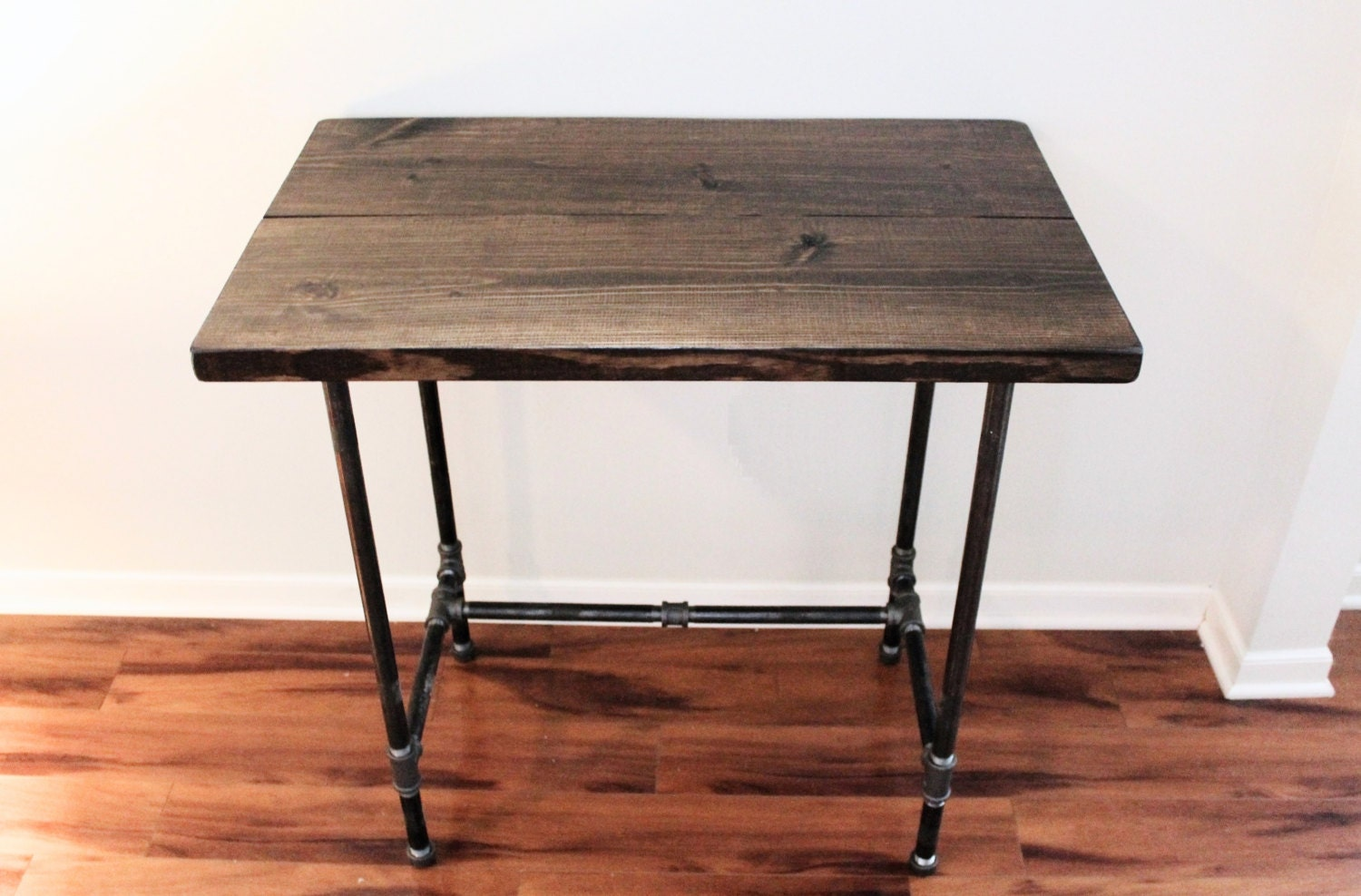 Wooden Stand Up Desk ~ Steel and wood standing desk