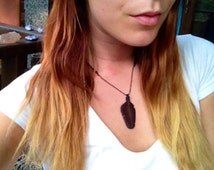 Sono Wood Eagle Down Feather Pendant Necklace - Hand Carved Wood - Feather Tribe