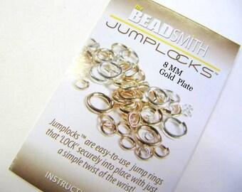 Jump Rings, 8 MM, Locking, Gold Plate, Jewelry Findings, 16 Gauge, 50 Piece, Secure Locks, Jewerly Findings