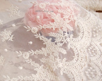 Beatuful white and Natural color  lace, one yard cotton lace,Accessories,Very cute white lace for your handmade item