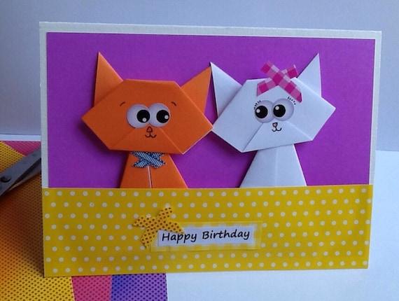 origami happy birthday cat cardjollycards on etsy