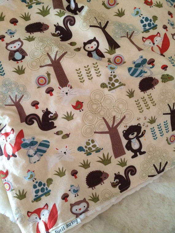Woodland Forest Animal Baby Blanket Flannel Baby Blanket