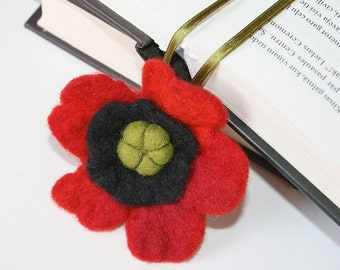 Needle Wet Felted Wool Bookmark  Red Poppy  Flower Sculpture Wool  Decor Valentines Mother's Day Present Decoration Miniature Collection