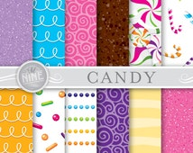 "CANDY THEME 12"" x 12"" Digital Paper Pack Pattern Prints, Instant Download, Patterns Backgrounds Scrapbook Print Sweets Candy Chocolate"