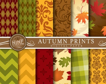 """AUTUMN Digital Paper: """"FALL LEAVES"""" Patterns Prints, Instant Download, Autumn Backgrounds Print"""