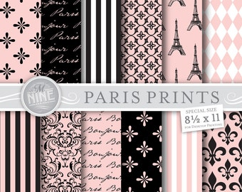 "PARIS Digital Paper: Paris Theme Patterns Pattern Prints, Instant Download, 8 1/2"" x 11"" Backgrounds Scrapbook Print"