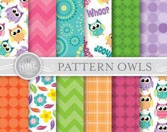 OWLS Digital Paper: PATTERN OWLS Printable Pattern Print, Owls Download, 12 x 12 Owl Patterns Owls Scrapbook Print