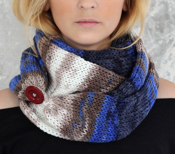 Ombre Knit Scarf with button infinity scarf circle by ...