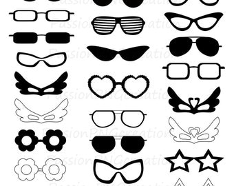 Digital glasses clipart, Silhouette glasses, card, scrapbooking, photo prop, photo booth prop