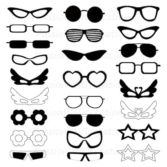 Digital glasses clipart Silhouette glasses card