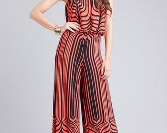 Unique Women palazzo pant wide leg zebra jumpsuit jumper romper
