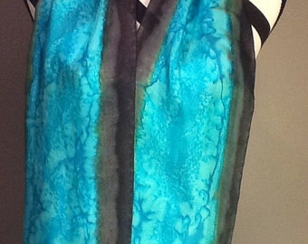 Hand painted silk scarf turquoise with a black edge, salt effect, made to order.