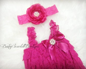 Hot Pink Baby Girl Lace Pettiromper with Headband Set