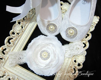 White Lace Baby Girl Shoes ,Christening Shoes with Headband Set