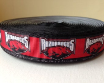 "1/3/5/7/10/15 Yards Arkansas 7/8"" Grosgrain Ribbon"