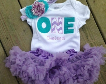 Lavender chevron and teal birthday outfit - 1st birthday shirt and headband - ONE 1st birthday outfit