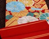 """Red Gold Floral Vintage Japanese Silk Kimono Obi 39"""" x 12"""""""