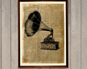 Vintage decor Gramophone poster Dictionary print Antique illustration WA254