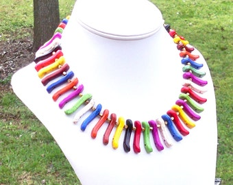 Ambre - Ethnic Chunky Rainbow Spike Multicolor Turquoise Beaded Necklace