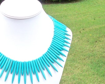Naomie - Chunky Spike Aqua Blue Turquoise Beaded Gemstone Statement Necklace - Trendy, Summer, Beach, Tribal, Ethnic