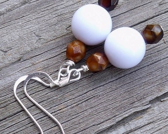 Averie - 12mm Round White and Brown Multifaceted Czech Glass Silver Fish Hook Dangle Earrings