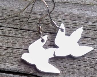 Bird Earrings Silver Bird Earrings Dainty Bird Earrings with Birds Flying Bird Earrings Bird Dangle Earrings Silver Birds Earrings Nature