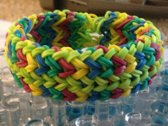 How To Make The Basket Weave Rainbow Loom : Colorful thick weave braid rainbow loom adult size by