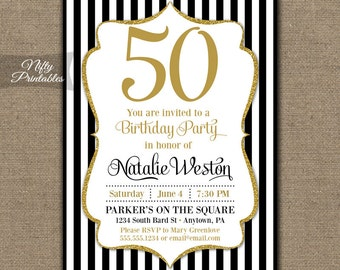 50th birthday invitations printable white gold glitter 50th birthday invitations black gold glitter 50 black tie fiftieth birthday printables stopboris Image collections