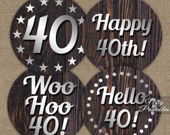 40th Birthday Cupcake Toppers - 40th Birthday Party Decorations - Printable 40th Birthday Toppers - Mens Rustic 40th Cupcake Toppers SWD