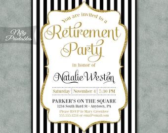 Retirement Party Invitations - Printable Black & Gold Retirement Invites - Elegant Gold Glitter Retirement - Farewell Party Invitation BGL