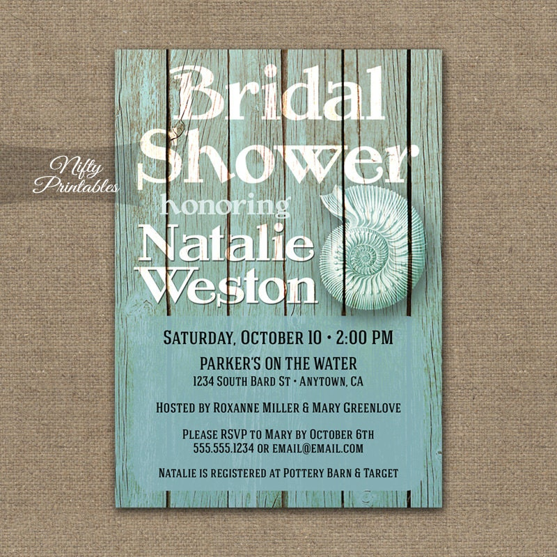 Beach Bridal Shower Invitations Printable Nautical Bridal