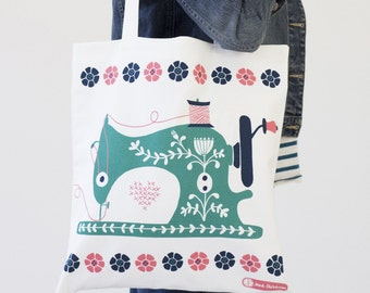 Sew Happy Canvas Tote Bag