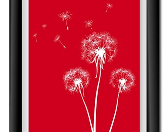 INSTANT DOWNLOAD Red White Dandelion Printable Art Digital Print Wall Decor Bathroom Bedroom Custom Modern Miminimalist Flower Nursdery
