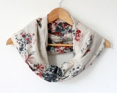 Infinity Scarf, Cotton scarf in ivory, black and red flower - 1301