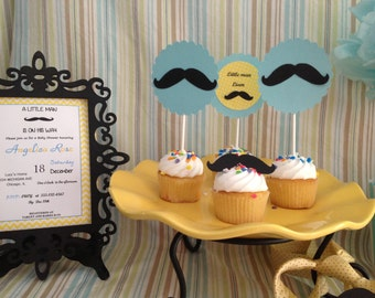 Little Man Mustache Cupcake/Cake Toppers Set of 12