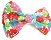 Dog Bow Tie Small Medium Large Colorful Double-Stacked Flower Bowtie