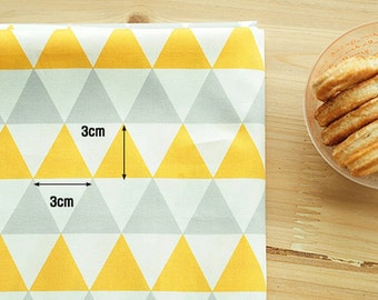 """Twill Cotton Fabric 1.20"""" (3 cm) Triangle Gray Yellow By The Yard"""