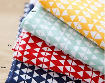 Cotton Fabric with Triangle in 4 Colors By The Yard
