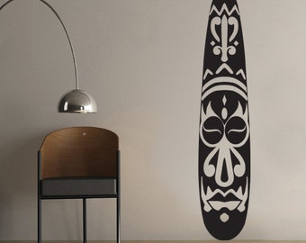 African Mask Pattern Sculpture Wall Decal