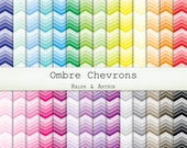 Ombre Chevron Digital Paper  - 28 Sheets - Digital Scrapbooking Paper - Commercial Use - Instant Download - Rainbow R232