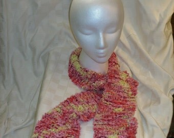 Hand Knitted Scarf, Eyelash Ribbon Yarn, Pink Red and Yellow, Extra Long, Soft and Warm, Bright Fashion Accessory, Women and Teen Girls