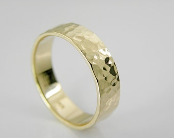 14k Yellow Gold Wedding Band - Hammered wedding Band- Handmade - Men - Women - 5x1.5mm
