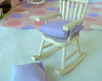 Rocking Chair  white dollhouse miniature with Lavender Pillow to sit on.