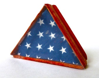 Memorial Flag with frame dollhouse miniature 1/12 scale